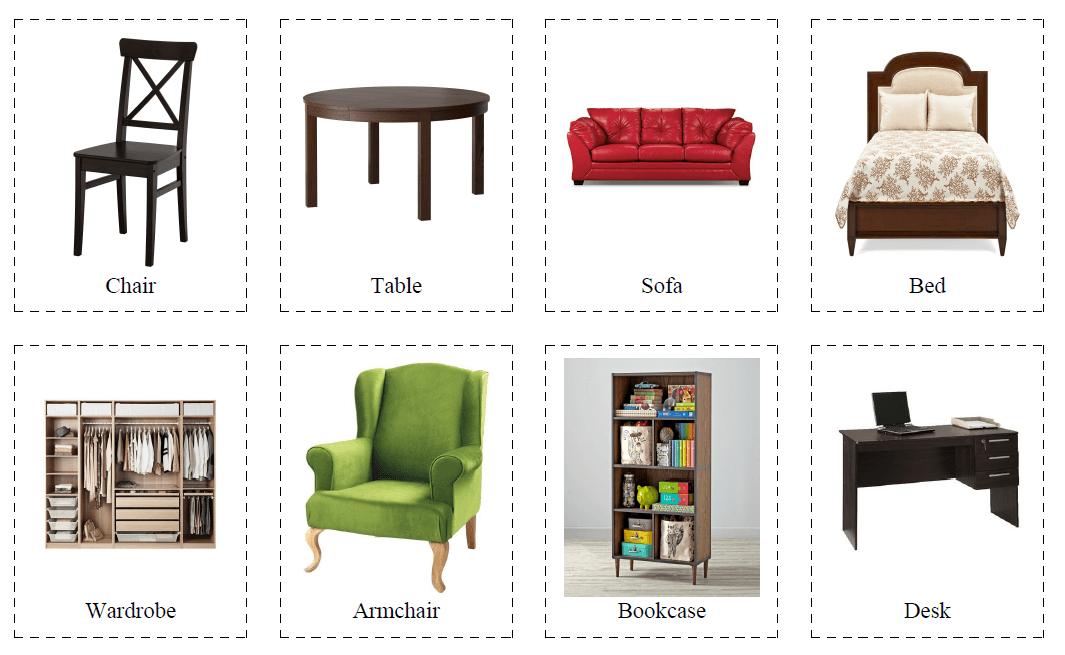 "Карточки по теме ""Furniture"" (Мебель)"
